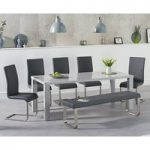 Atlanta 180cm Light Grey High Gloss Dining Table with Malaga Chairs and Atlanta Grey Bench