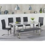 Atlanta 200cm Light Grey High Gloss Dining Table with Malaga Chairs and Atlanta Large Grey Bench