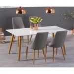Malmo 180cm Matt White Dining Table with Ashford Fabric Wooden Leg Chairs