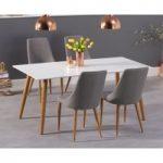 Malmo 180cm Matt White Dining Table with Ashford Fabric Wooden Leg Chairs