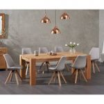 Madrid 200cm Oak Dining Table with Oscar Fabric Square Leg Chairs