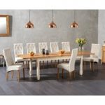 Somerset 180cm Oak and Cream Extending Dining Table with Juliette Cream Chairs