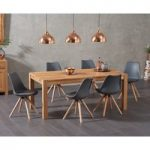 Verona 150cm Solid Oak Dining Table with Oscar Faux Leather Round Leg Chairs