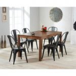 Oxford 150cm Dark Oak Dining Table with Tolix Industrial Style Dining Chairs
