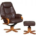 Malai Chocolate Leather Recliner and Footstool