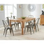 Oxford 150cm Solid Oak Dining Table with Tolix Industrial Style Dining Chairs