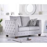 Amelie Grey Plush Fabric Two-Seater Sofa