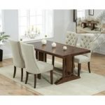 Cavendish 165cm Dark Oak All Sides Extending Table With Anais Fabric Dark Oak Leg Chairs