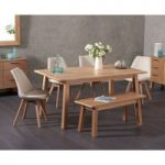 Annalie 160cm Oak Dining Table with Duke Fabric Chairs and Annalie Benches