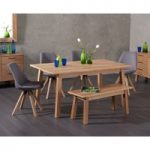 Annalie 160cm Oak Dining Table with Oscar Fabric Square Leg Chairs with Annalie Benches