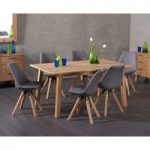 Annalie 160cm Oak Dining Table with Oscar Fabric Square Leg Chairs