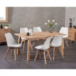 Annalie 160cm Oak Dining Table with Duke Faux Leather Chairs