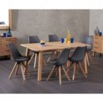 Annalie 160cm Oak Dining Table with Oscar Faux Leather Square Leg Chairs