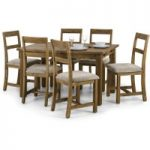 Sierra Rough Sawn Pine Extending Dining Table with Benches and Chairs