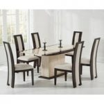 Assisi 180cm Cream Pedestal Marble Dining Table with Raphael Chairs