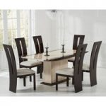 Assisi 180cm Cream Pedestal Marble Dining Table with Verbier Chairs