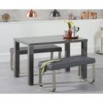 Atlanta 120cm Dark Grey High Gloss Dining Table with Atlanta Benches