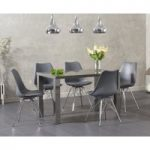 Atlanta 120cm Dark Grey High Gloss Dining Table with Celine Chrome Leg Chairs