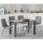Atlanta 120cm Dark Grey High Gloss Dining Table with Helsinki Fabric Chairs