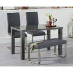 Atlanta 120cm Dark Grey High Gloss Dining Table with Malaga Chairs and Atlanta Grey Bench
