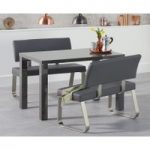 Atlanta 120cm Dark Grey High Gloss Dining Table with Malaga Benches