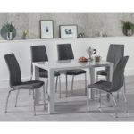Atlanta 120cm Light Grey Gloss Dining Table with Cavello Chairs