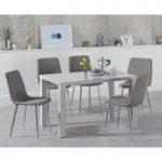 Atlanta 120cm Light Grey High Gloss Dining Table with Helsinki Fabric Chairs