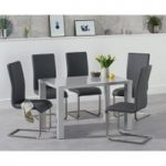 Atlanta 120cm Light Grey Gloss Dining Table with Malaga Chairs