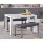 Atlanta 120cm White High Gloss Dining Table with Atlanta Grey Benches