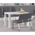 Atlanta 120cm White High Gloss Dining Table with Cavello Chairs and Malaga Grey Bench