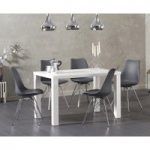 Atlanta 120cm White High Gloss Dining Table with Celine Chrome Leg Chairs