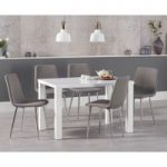 Atlanta 120cm White High Gloss Dining Table with Helsinki Fabric Chrome Chairs