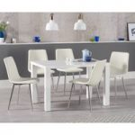 Atlanta 120cm White High Gloss Dining Table with Helsinki Faux Leather Chairs