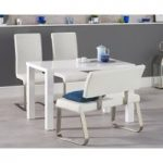 Atlanta 120cm White High Gloss Dining Table with Malaga Chairs and Malaga White Bench