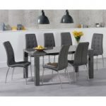 Atlanta 160cm Dark Grey High Gloss Dining Table with Calgary Chairs