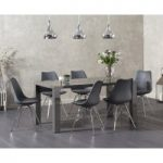 Atlanta 160cm Dark Grey High Gloss Dining Table with Celine Chrome Leg Chairs