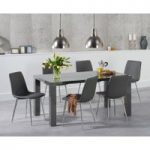 Atlanta 160cm Dark Grey High Gloss Dining Table with Helsinki Faux Leather Chairs