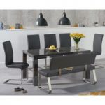 Atlanta 160cm Dark Grey High Gloss Dining Table with Malaga Chairs and Malaga Grey Bench
