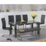 Atlanta 160cm Dark Grey High Gloss Dining Table with Malaga Chairs and Atlanta Grey Bench