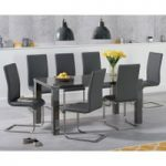Atlanta 160cm Dark Grey High Gloss Dining Table with Malaga Chairs