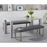 Atlanta 160cm Light Grey High Gloss Dining Table with Atlanta Benches