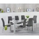 Atlanta 160cm Light Grey High Gloss Dining Table with Calgary Chairs