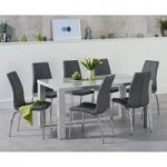 Atlanta 160cm Light Grey Gloss Dining Table with Cavello Chairs