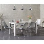 Atlanta 160cm Light Grey High Gloss Dining Table with Celine Chrome Leg Chairs