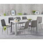 Atlanta 160cm Light Grey High Gloss Dining Table with Helsinki Fabric Chairs