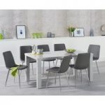 Atlanta 160cm Light Grey High Gloss Dining Table with Helsinki Faux Leather Chairs