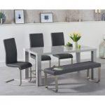 Atlanta 160cm Light Grey High Gloss Dining Table with Malaga Chairs and Atlanta Grey Bench