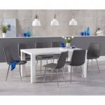 Atlanta 160cm White High Gloss Dining Table with Helsinki Faux Leather Chairs