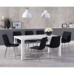 Atlanta 160cm White High Gloss Dining Table with Helsinki Fabric Chrome Chairs