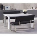 Atlanta 160cm White High Gloss Dining Table with Black Malaga Benches